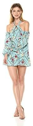 Ella Moon Women's Standard Halter Neck Cold Shoulder Long Sleeve Swing Dress