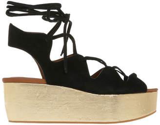 See by Chloe Sedgwick Gold Platform Lace Up Sandal