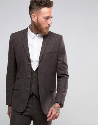 Asos Design Slim Suit Jacket in Brown Herringbone