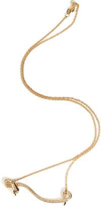 Ileana Makri 18kt Yellow Gold Flying Snake Necklace with Diamonds