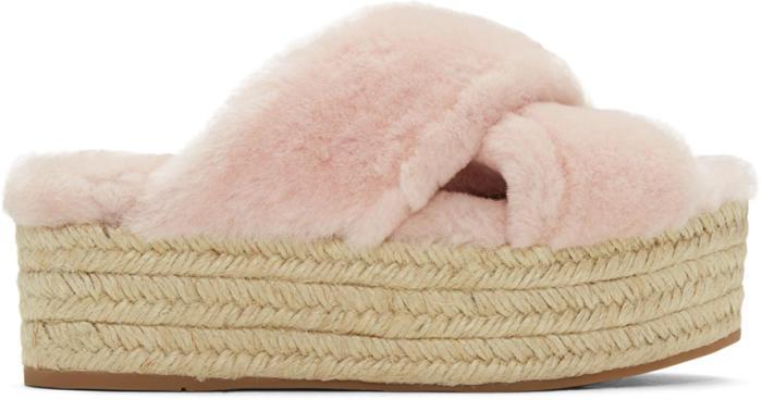 Miu Miu Pink Shearling Cross Sandals