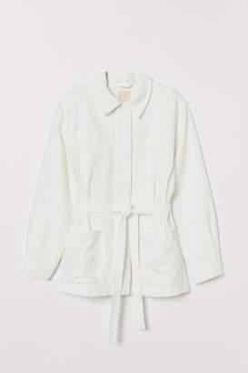 H&M Twill Jacket with Tie Belt - White