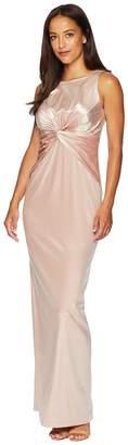 Adrianna Papell Twist Front Sleeveless Stretch Velvet Gown Women's Dress