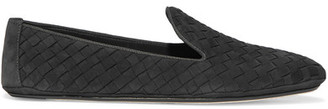 Bottega Veneta - Intrecciato Nubuck Slippers - Dark gray $620 thestylecure.com