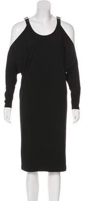 Michael Kors Leather-Trimmed Cold Shoulder Dress