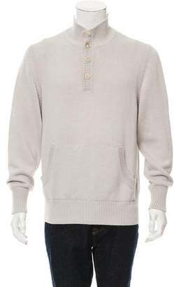 Loro Piana Rib Knit Mock Neck Sweater