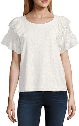 Libby Edelman Ruffle Lace Top Short Sleeve Round Neck Lace Blouse