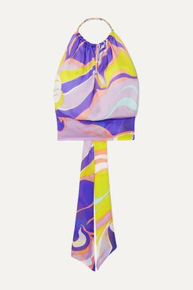 Emilio Pucci Printed Silk-satin Halterneck Top - Purple