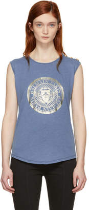 Balmain Blue Sleeveless Coin Logo T-Shirt