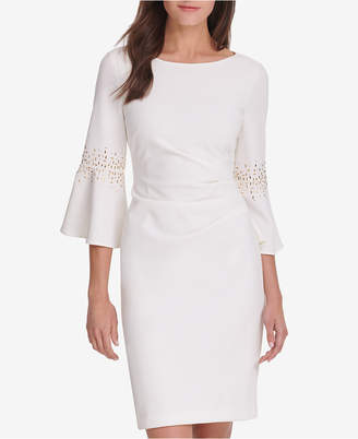 Jessica Howard Petite Ruched Beaded Sheath Dress