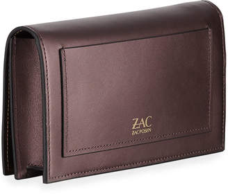 Zac Posen Earthette Metallic Leather Clutch Bag, Dark Purple