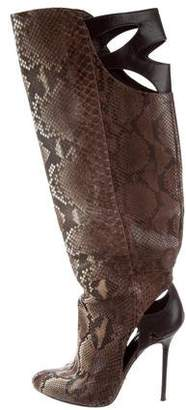 Sergio Rossi Laser Cut Snakeskin Boots