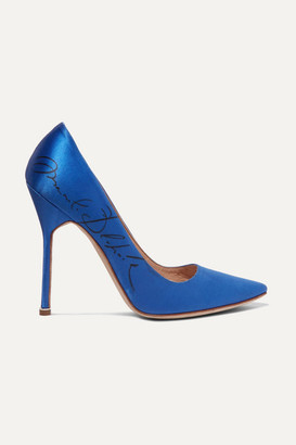 Vetements Manolo Blahnik Printed Satin Pumps - Bright blue