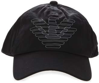 Emporio Armani Black Cotton Logo Hat