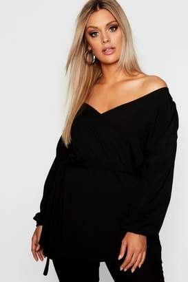 boohoo Plus Katy Off The Shoulder Wrap Blazer