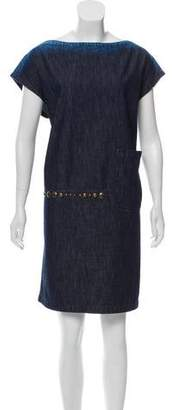 Tomas Maier Sleeveless Denim Shift Dress