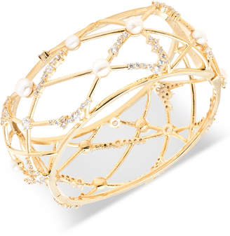 Carolee Gold-Tone Crystal & Freshwater Pearl (5-6mm) Openwork Cuff Bracelet
