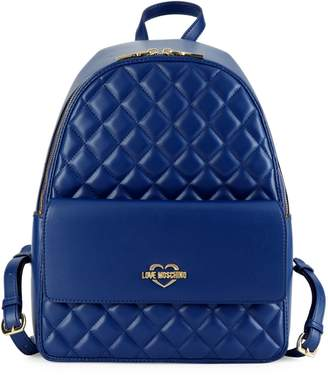 Love Moschino Quilted Metallic Logo Backpack