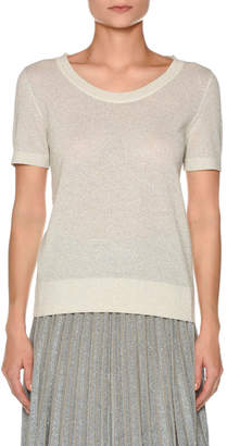 Agnona Short-Sleeve Metallic Knit T-Shirt