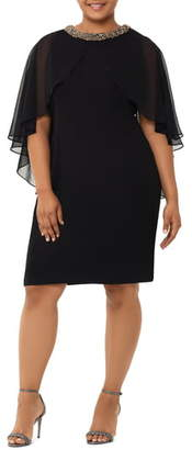Xscape Evenings Chiffon Cape Sleeve Beaded Neckline Cocktail Dress