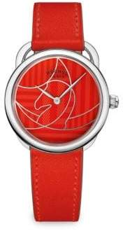 Hermes Arceau Stainless Steel& Leather Watch