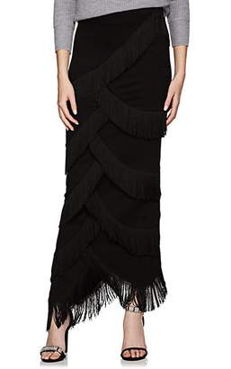 Y/Project Women's Fringed Ponte Maxi Skirt - Black