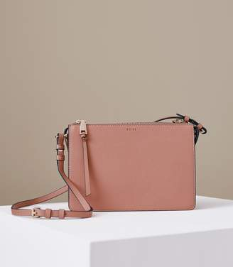 Reiss Dalston - Leather Cross-body Bag in Rose