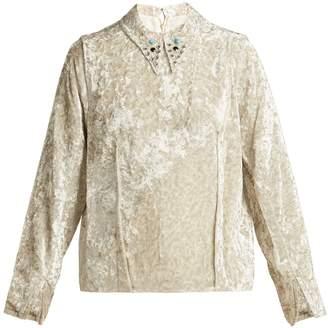 Toga Studded-collar crushed velvet top