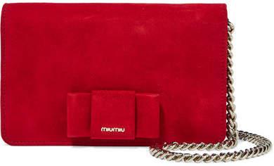 Miu MiuMiu Miu - Bow-embellished Suede Shoulder Bag - Crimson