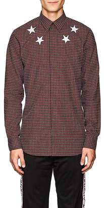 Givenchy Men's Star-Motif Checked Cotton Poplin Shirt