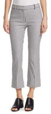 Derek Lam 10 Crosby Women's Striped Cropped Pants - White Blue - Size 2