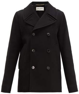 Saint Laurent Double Breasted Felted Wool Pea Coat - Womens - Black