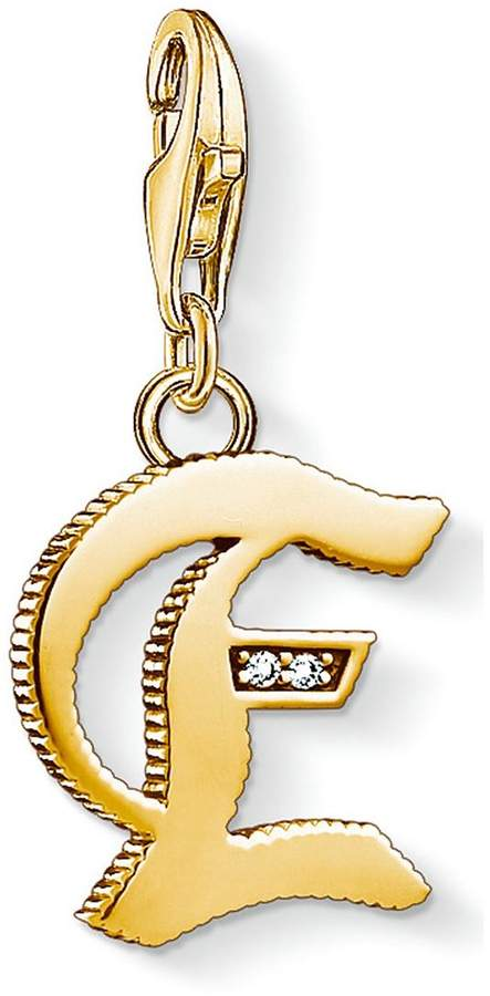 18k Gold Plate Sterling Silver Cubic Zirconia Set Letter E Charm