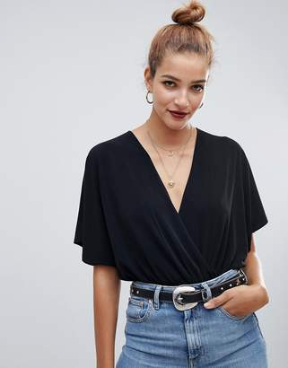 Asos DESIGN angel sleeve wrap body
