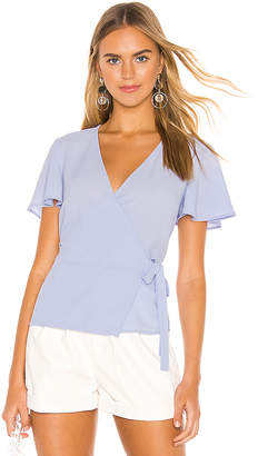 1 STATE Short Sleeve Wrap Front Flounce Sleeve Blouse