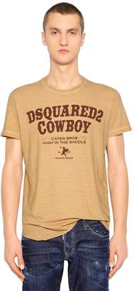 DSQUARED2 Cowboy Print Cotton Jersey T-Shirt