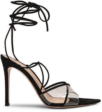 Gianvito Rossi Plexi Camoscio Tie Heels in Trasp & Black | FWRD