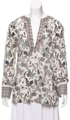 Tory Burch Embellished Floral Top