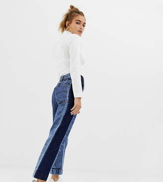 Collusion COLLUSION Petite straight leg jeans in acid wash with contrast panel