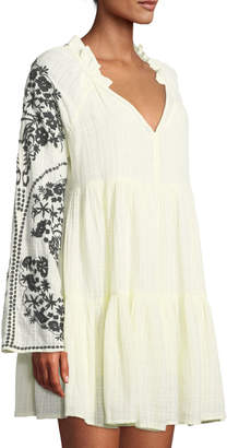Free People Embroidered-Sleeve V-Neck Peasant Dress, White