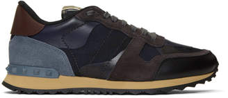 Valentino Navy and Black Garavani Camo Rockrunner Sneakers
