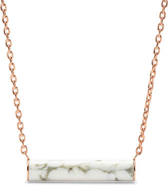Fossil White Reconstituted Marble Plaque Rose Gold-Tone Steel Necklace