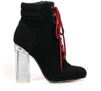 Fahrenheit Clear Heel Women's Lace Up High Heel Booties