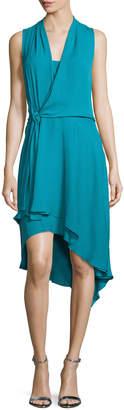 Neiman Marcus Kobi Halperin Sleeveless Faux-Wrap High-Low Dress, Teal Ocean