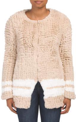 Fashion Strip Faux Fur Coat