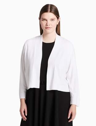 Calvin Klein plus size solid 3/4 sleeve shrug