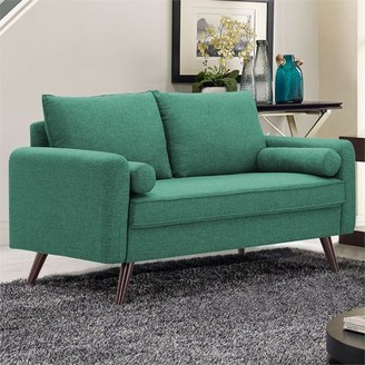 Mid-Century MODERN Lifestyle Solutions Design Calden Upholstery fabric Loveseat, Seafoam Green