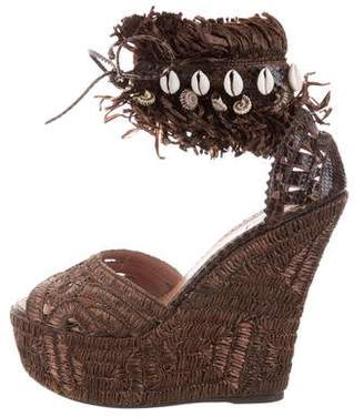 Alaia Snakeskin-Trim Wedge Sandals