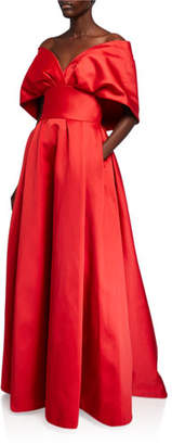 Zac Posen Taffeta Off-the-Shoulder Portrait Collar Gown