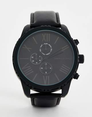 Asos DESIGN watch in monochrome with roman numerals and sub dials